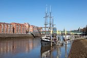 pic of pirate ship  - Old pirate ship which is today a restaurant in Bremen Germany - JPG