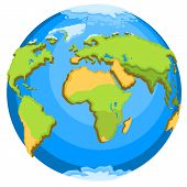 picture of continent  - Planet Earth with continents - JPG