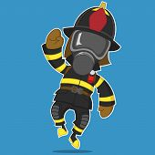 picture of gas mask  - Firefighter rejoices - JPG