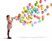 image of screaming  - Clown funny and creative screams colorful balloons - JPG
