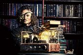 stock photo of steampunk  - Portrait of a man steampunk in his research laboratory - JPG