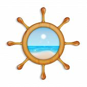 image of ship steering wheel  - Summer background - JPG