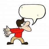 stock photo of annoyance  - cartoon annoyed man gesturing with speech bubble - JPG