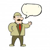 stock photo of crazy hat  - cartoon sensible business man in bowler hat with speech bubble - JPG