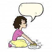 picture of scrubs  - cartoon woman scrubbing floor with speech bubble - JPG