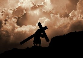 image of calvary  - Jesus Christ carrying the cross up Calvary - JPG