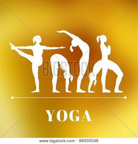 Yoga poster with silhouettes of women in the yoga poses on a photo blurred background.