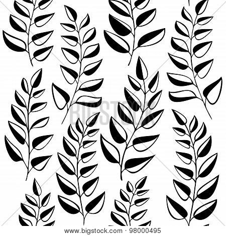 Seamless Pattern With Fern - Black And White