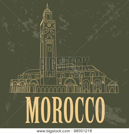 Kingdom of Morocco infographics, statistical data, sights. Hassan III Mosque in Casablanca. Vector