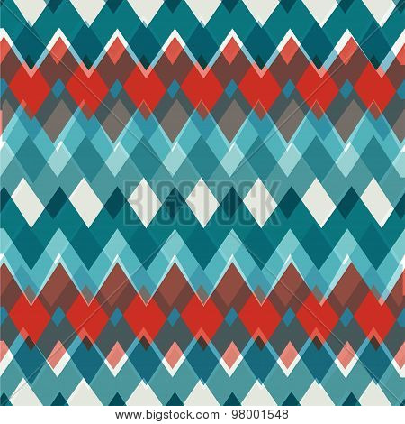 Vector seamless Chevron Pattern. Fashion zigzag in retro colors, vector background.