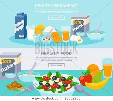 Healthy Food Flat Banner Set