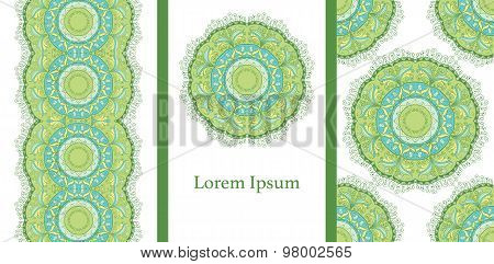 Set of 3 cards or invitations with mandala.