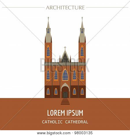 Cityscape graphic template. Modern city architecture. Vector illustration of christian catholic