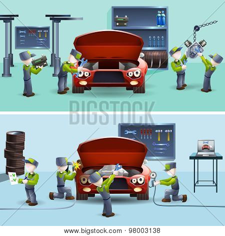 Auto mechanic service flat banners set