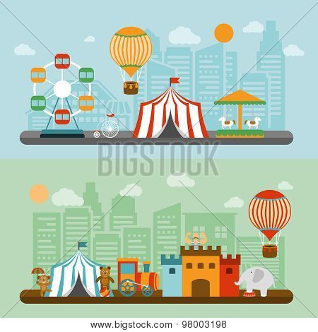 Circus in city flat banners set