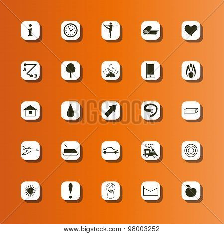 Set of flat icons for yoga poster, yoga site.