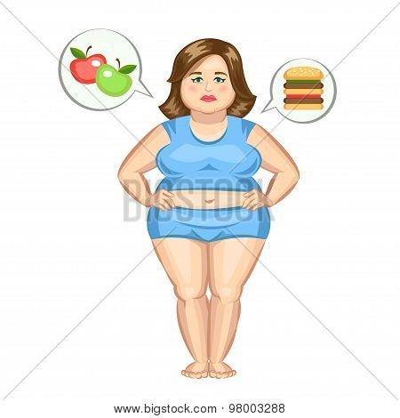 The Fat Girl With Hamburger And Apples. Vector Illustration.