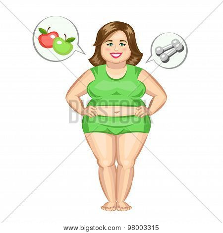 The Fat Girl With Dumbbells And Apples. Vector Illustration.