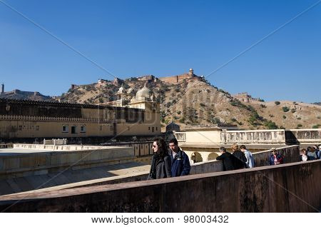 Jaipur, India - December 29, 2014: Tourists Visit Amber Fort Near Jaipur