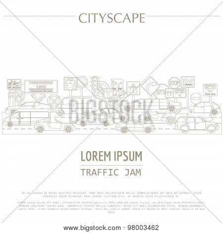 Cityscape graphic template. Modern city. Vector illustration. Traffic jam, transport, cars