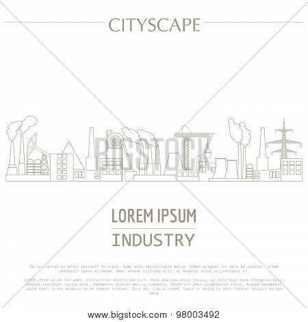 Cityscape graphic template. Industry city buildings. Vector illustration