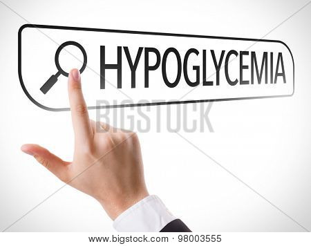 Hypoglycemia written in search bar on virtual screen
