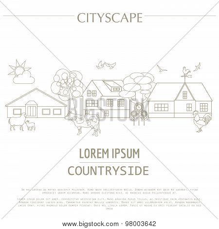 Countryside graphic template. Village buildings, rural scene and farm animals. Vector illustration