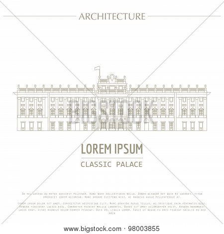 Cityscape graphic template. Modern city architecture. Vector illustration of classic royal palace