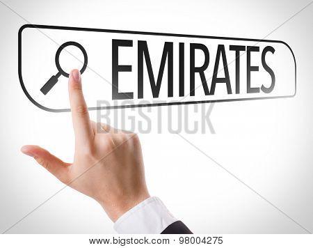 Emirates written in search bar on virtual screen