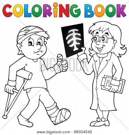 Coloring book doctor attending patient - eps10 vector illustration.
