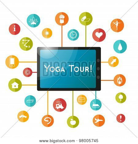 Tablet and set of flat icons for yoga poster, yoga site.