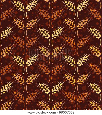 Seamless Pattern With Rows Of Yellow And Orange Wheat. Brown Agricultural Background About Harvest