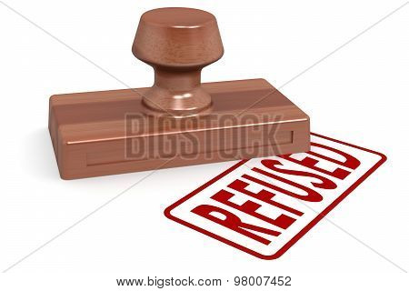 Wooden Stamp Refused With Red Text