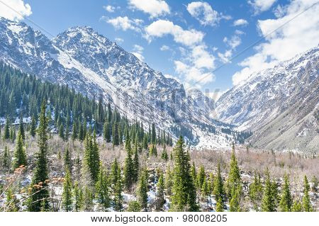 The panorama of mountain landscape of Ala-Archa national park in the summer's day, Kyrgyzstan.