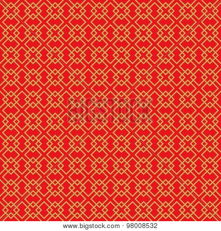 Golden seamless vintage Chinese window tracery square pattern background.