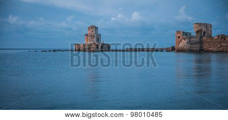 Seascape And Ruins Of Fortress Of Methoni, Peloponnese, Greece