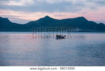 Bay At Sunset Near Methoni, Peloponnese, Greece