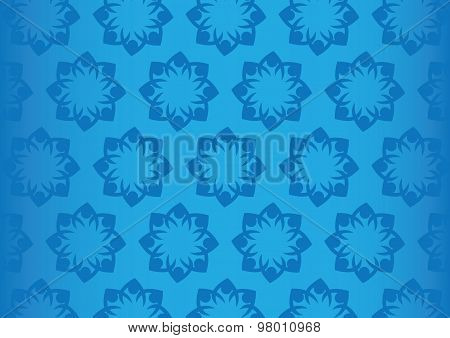 Seamless Blue Floral Pattern Design Vector Background