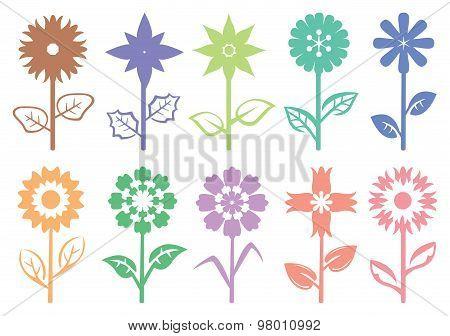 Flower Stalk Silhouette Decorative Pattern Vector Illustration