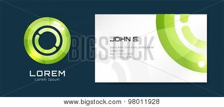 Vector globe logo business card template. Abstract arrow design and creative identity idea, blank, paper. Stock illustration. Isolated on white background.