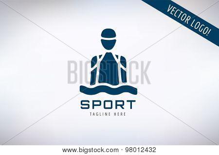 Swim sport logo icon template. Pool, swimmer, man symbol or water, athlete, swimming club. Design element