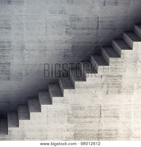 Stairs On The Wall, Abstract Concrete Interior 3D