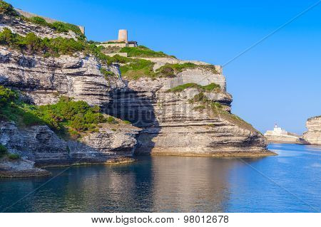 Rocky Cliffs With Old Fort Of Bonifacio, Corsica