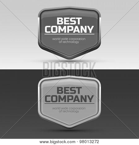 Metal frame for brand or company name.