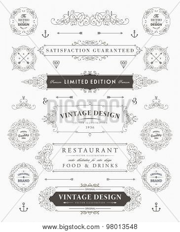 Set of Vintage Decorations Elements. Flourishes Calligraphic Ornaments, Borders and Frames. Retro Style Collection for Boutique, Store, Shop, Restaurant, Hotel and Heraldic Logo. Identity design.