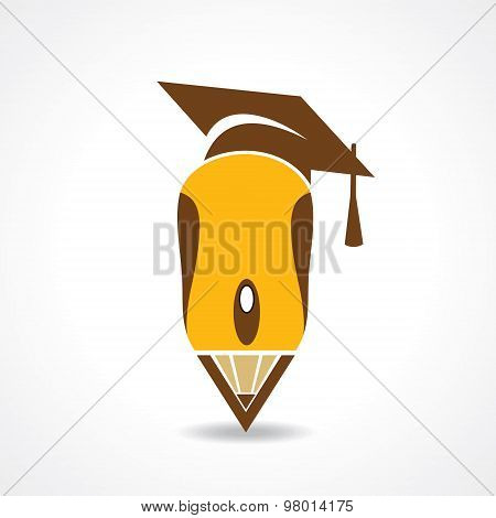 Education concept with graduation cap and computer mouse stock vector