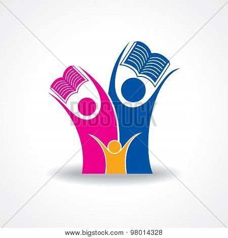 educational concept - happy students with book icon  stock vector