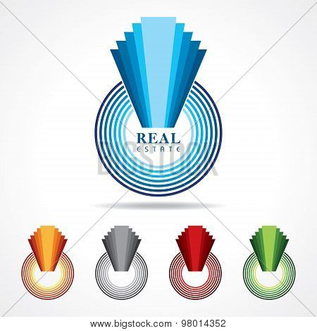Illustration of abstract real estate icon designs stock vector