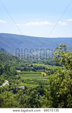Aerial View, Landscape In South Europe Under The Blue Sky