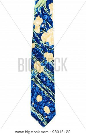 Vintage Blue Decorated With Flowers Tie